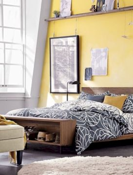 Visually pleasant yellow and grey bedroom designs ideas 39