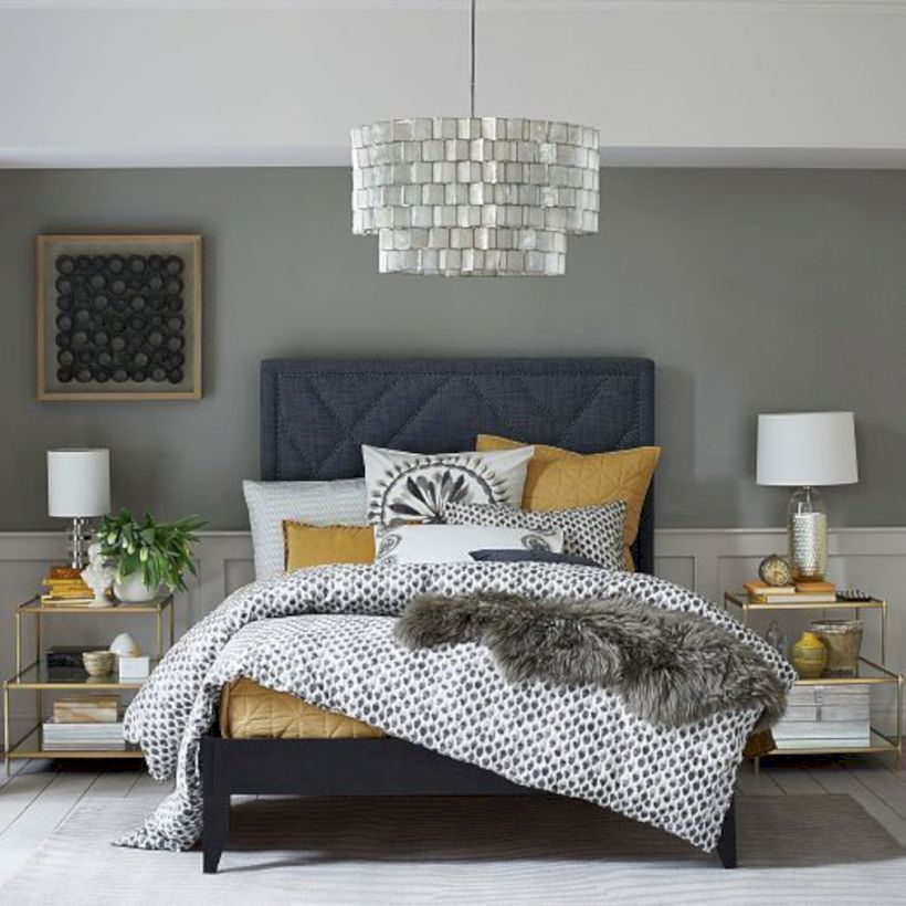 Visually pleasant yellow and grey bedroom designs ideas 44