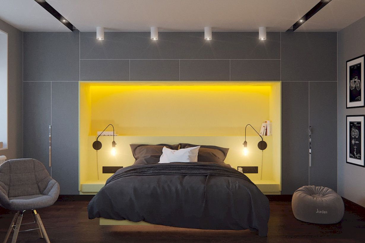 60 Visually Pleasant Yellow And Grey Bedroom Designs Ideas - ROUNDECOR