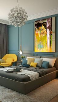 Visually pleasant yellow and grey bedroom designs ideas 53