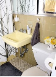 Yellow tile bathroom paint colors ideas (11)