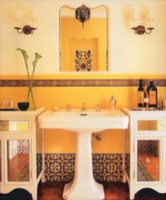 Yellow tile bathroom paint colors ideas (22)