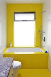 Yellow tile bathroom paint colors ideas (35)