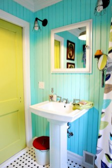 Yellow tile bathroom paint colors ideas (6)