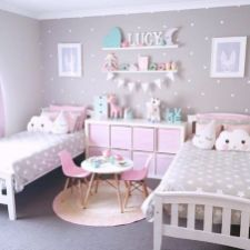 Cool kids bedroom with pink colour 08