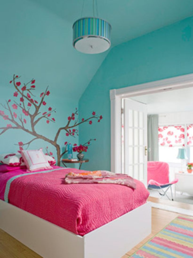 Cool kids bedroom with pink colour 41 - ROUNDECOR