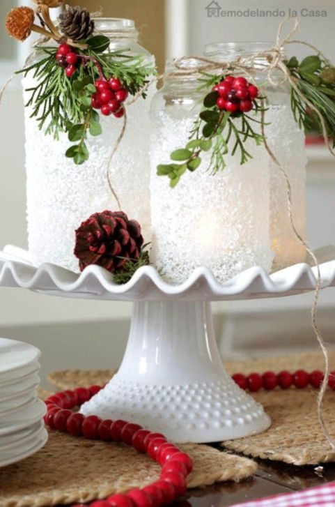 Creative diy christmas table centerpieces ideas 30