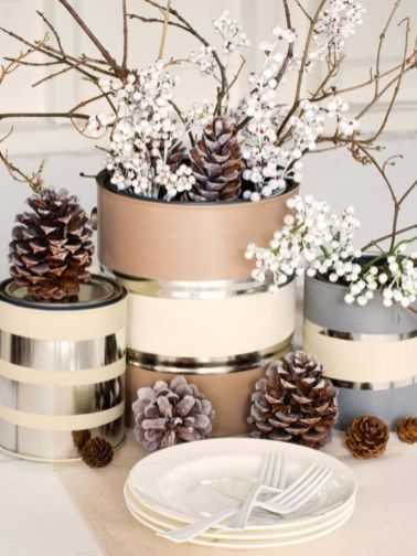 Creative diy christmas table centerpieces ideas 36