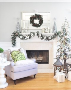 Elegant white fireplace christmas decoration ideas 02
