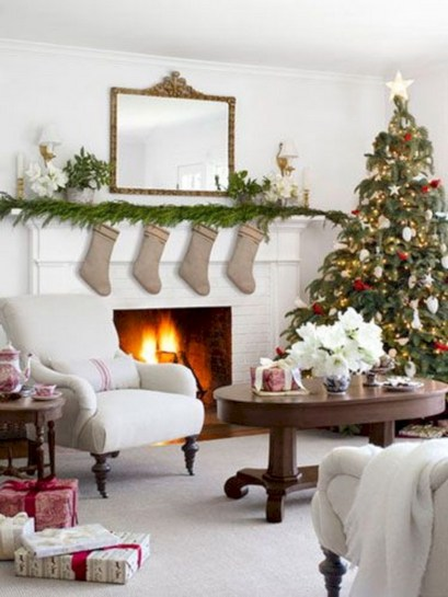 Elegant white fireplace christmas decoration ideas 08