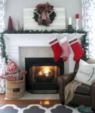 Elegant white fireplace christmas decoration ideas 10