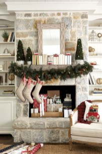 Elegant white fireplace christmas decoration ideas 14