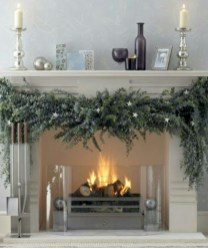 Elegant white fireplace christmas decoration ideas 17