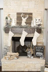 Elegant white fireplace christmas decoration ideas 18