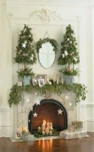 Elegant white fireplace christmas decoration ideas 24