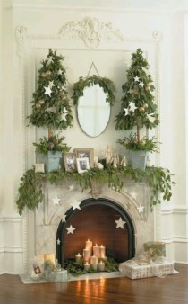 Elegant white fireplace christmas decoration ideas 24
