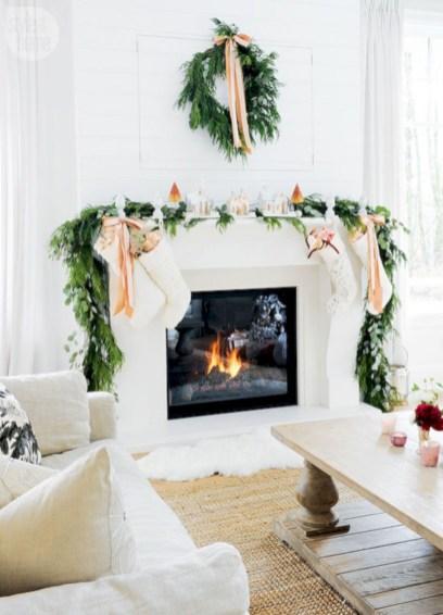 Elegant white fireplace christmas decoration ideas 32