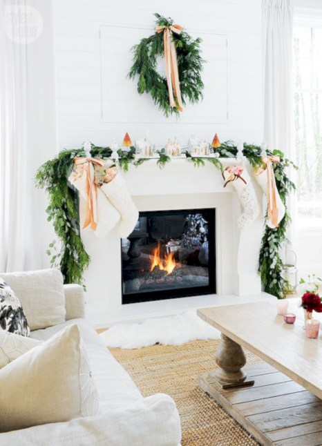 Elegant white fireplace christmas decoration ideas 32