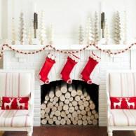 Elegant white fireplace christmas decoration ideas 35