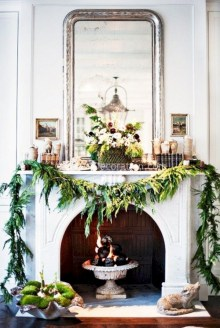 Elegant white fireplace christmas decoration ideas 37