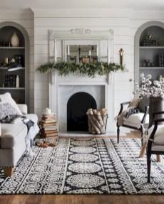 Elegant white fireplace christmas decoration ideas 38
