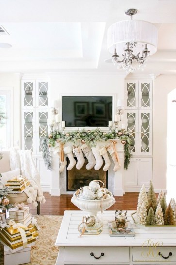 Elegant white fireplace christmas decoration ideas 43