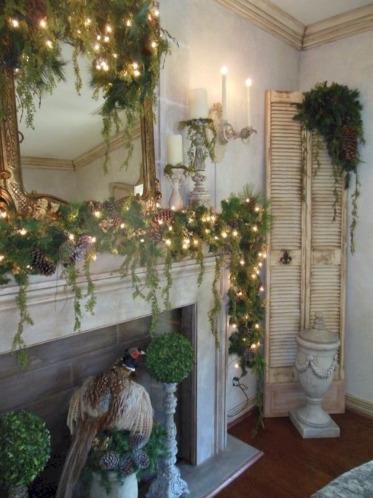 Elegant white fireplace christmas decoration ideas 45