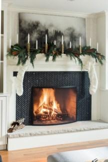 Modern farmhouse fireplace christmas decoration ideas 11