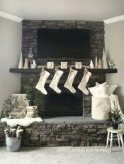 Modern farmhouse fireplace christmas decoration ideas 12