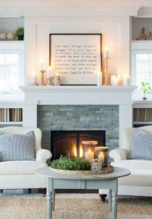 Modern farmhouse fireplace christmas decoration ideas 22