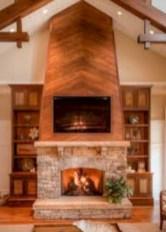 Modern farmhouse fireplace christmas decoration ideas 26