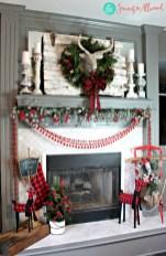 Modern farmhouse fireplace christmas decoration ideas 27