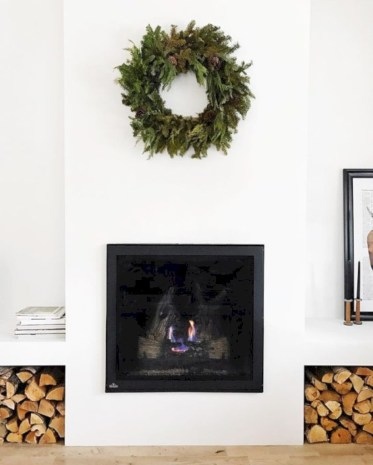 Modern farmhouse fireplace christmas decoration ideas 35