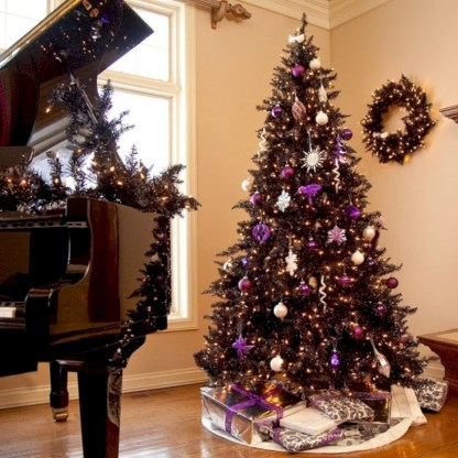 Unusual black christmas tree decoration ideas 40