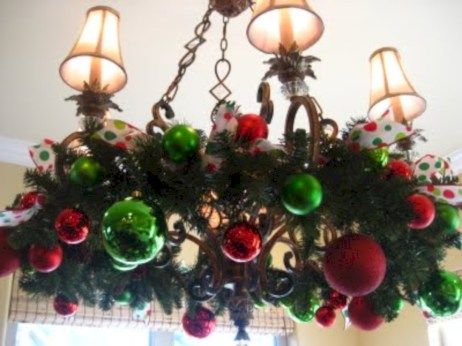 Adorable christmas chandelier decoration ideas 13