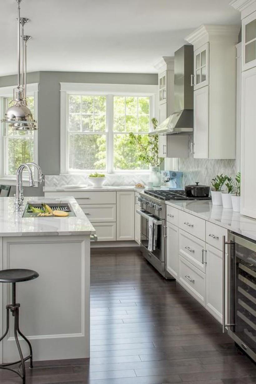 Adorable grey and white kitchens design ideas 40
