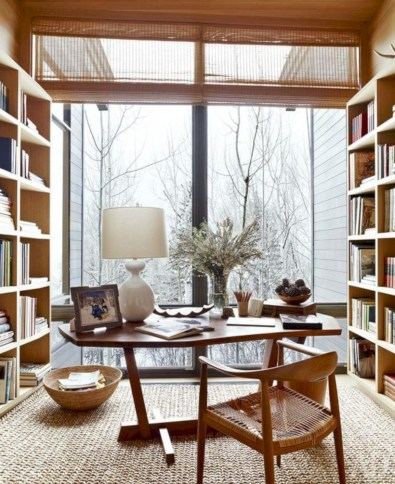 Awesome rustic home office designs ideas 37