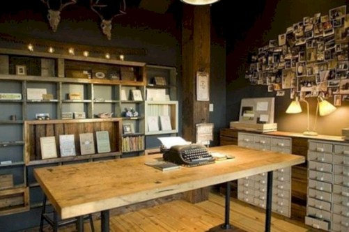 Awesome rustic home office designs ideas 47