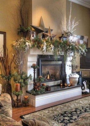 Cool christmas fireplace mantel decoration ideas 14