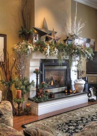 Cool christmas fireplace mantel decoration ideas 14
