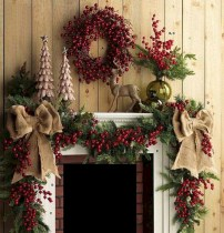 Cool christmas fireplace mantel decoration ideas 34