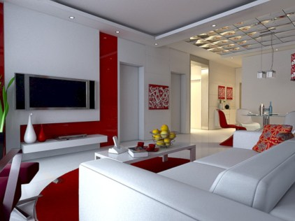 Gorgeous red and white living rooms ideas 20