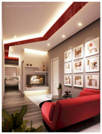 Gorgeous red and white living rooms ideas 34