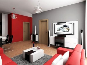 Gorgeous red and white living rooms ideas 43