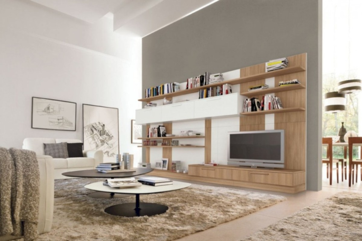 Modern living room wall units ideas with storage inspiration 34
