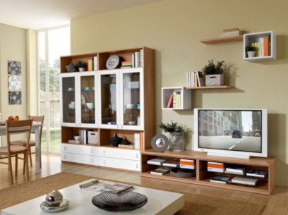Modern living room wall units ideas with storage inspiration 37
