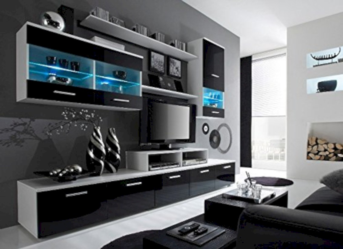 Modern living room wall units ideas with storage inspiration 39
