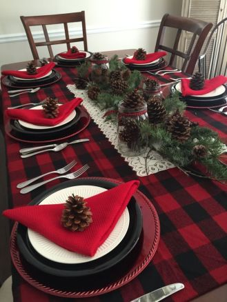 Simple rustic christmas table settings ideas 50