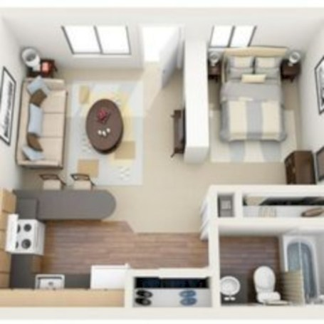 Stylish studio apartment floor plans ideas 01