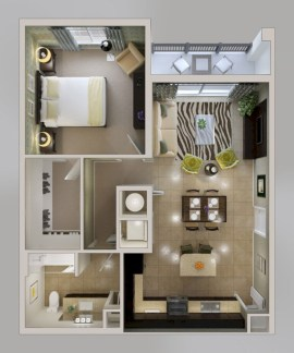 Stylish studio apartment floor plans ideas 09